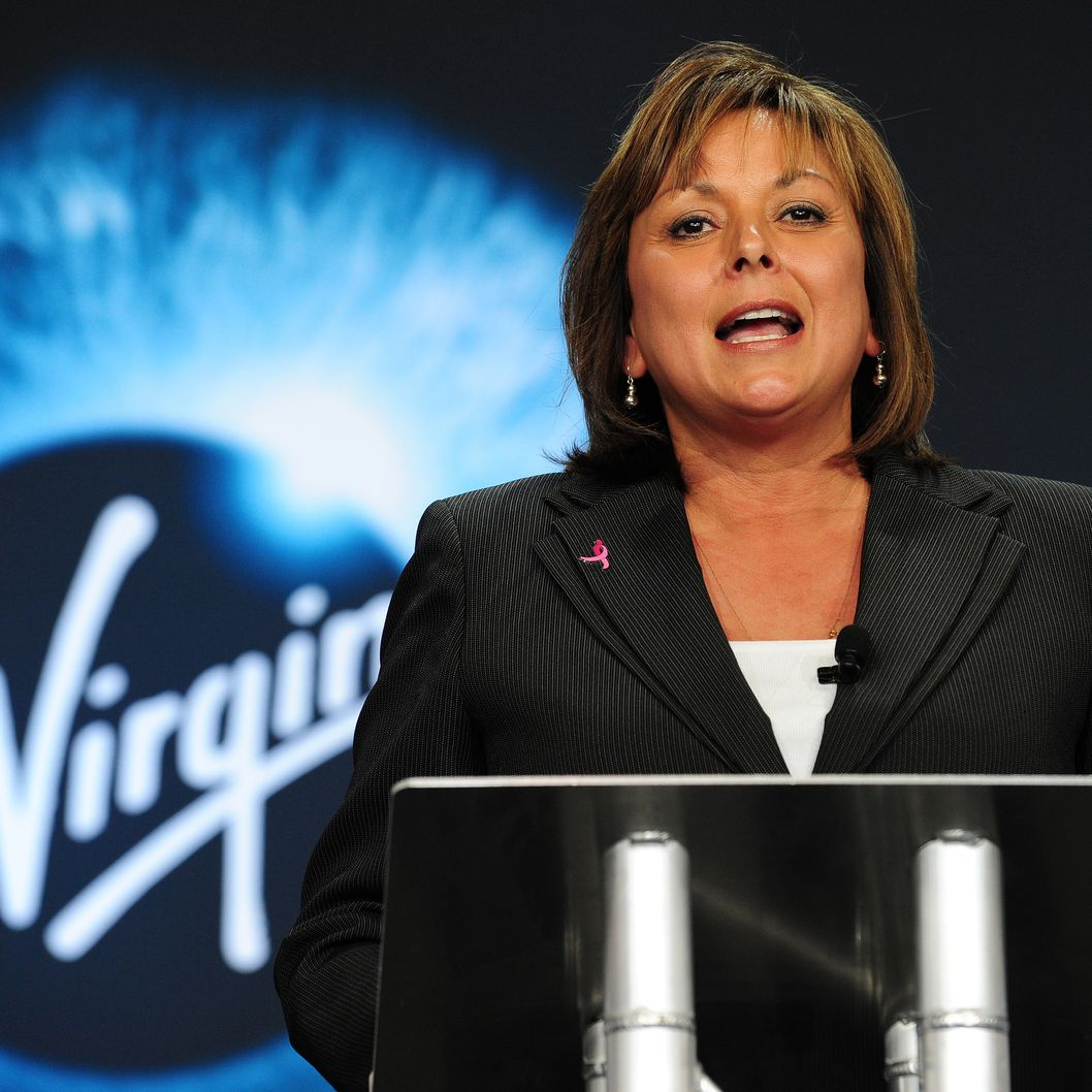 New Mexico Governor Susana Martinez speaks at the hangar facility at Spaceport America