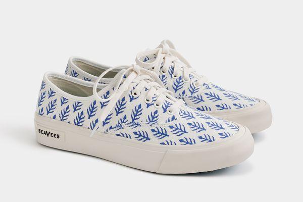 SeaVees® for J.Crew Legend sneakers in SZ Blockprints™ blue leaves