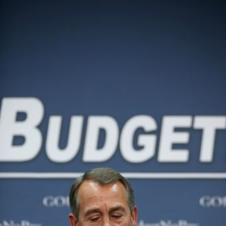 Speaker of the House John Boehner (R-OH) talks to reporters after a House GOP Conference meeting at the U.S. Captiol January 22, 2013 in Washington, DC. Although many Republican House members are divided over tomorrow's important vote that would put off the debt limit by several months, Boehner and his leadership team believe they have the support to pass the extension.