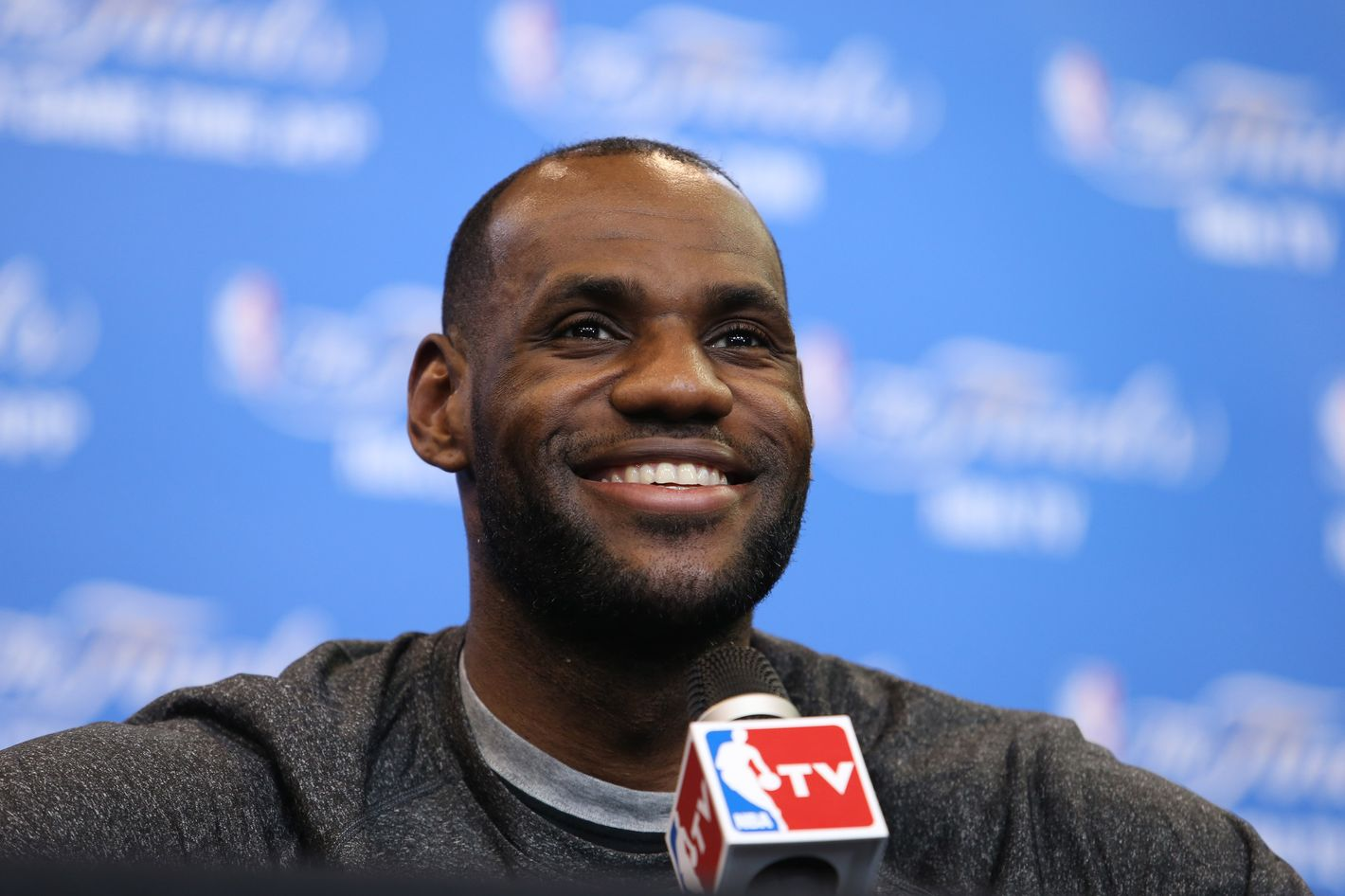SAN ANTONIO, TX - JUNE 14: LeBron James of the Miami Heat addresses the media during media availability as part of the 2014 NBA Finals on June 14, 2014 at the Spurs Practice Facility in San Antonio, Texas. NOTE TO USER: User expressly acknowledges and agrees that, by downloading and or using this photograph, User is consenting to the terms and conditions of the Getty Images License Agreement. Mandatory Copyright Notice: Copyright 2014 NBAE (Photo by Joe Murphy/NBAE via Getty Images)