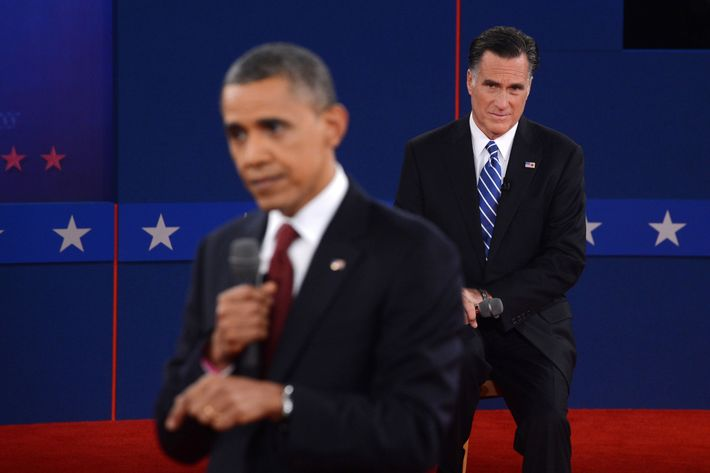US President Barack Obama (L) and Republican presidential candidate Mitt Romney (R) participate in the second presidential debate, the only held in a townhall format, at the David Mack Center at Hofstra University in Hempstead, New York, October 16, 2012, moderated by CNN's Candy Crowley.