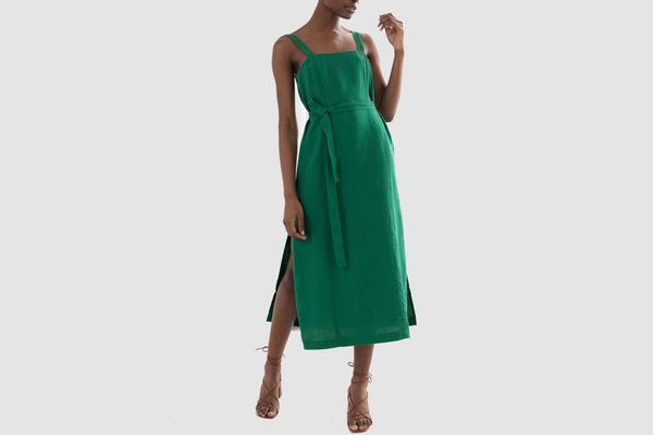 & Other Stories Belted Linen Midi Dress