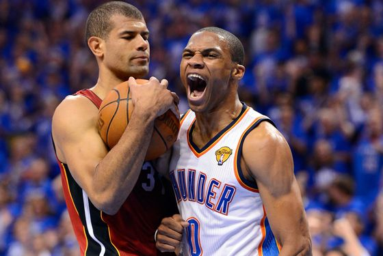 OKLAHOMA CITY, OK - JUNE 12:  (R-L) Russell Westbrook #0 of the Oklahoma City Thunder reacts alongside Shane Battier #31 of the Miami Heat in the first half in Game One of the 2012 NBA Finals at Chesapeake Energy Arena on June 12, 2012 in Oklahoma City, Oklahoma. NOTE TO USER: User expressly acknowledges and agrees that, by downloading and or using this photograph, User is consenting to the terms and conditions of the Getty Images License Agreement.  (Photo by Ronald Martinez/Getty Images)
