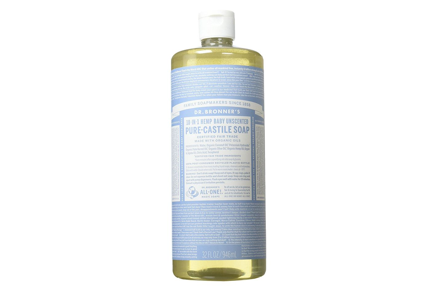 Dr. Bronner Pure-Castile Liquid Soap Baby Unscented, 32 oz.