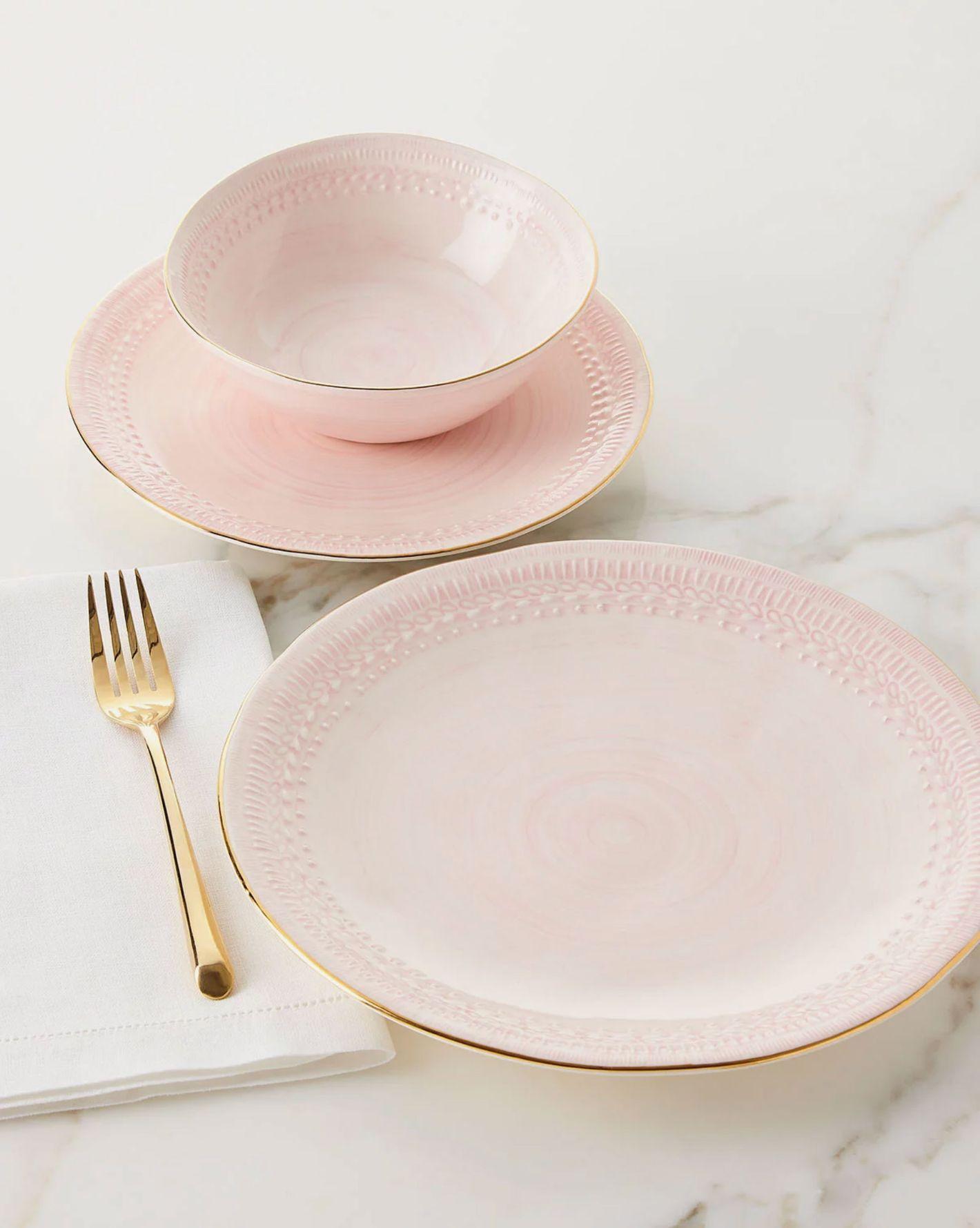 Neiman Marcus 12-Piece Pink Lace Dinnerware Service