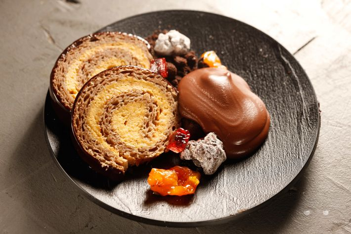 Quality Italian: Chestnut roulade with mascarpone cream and spiced cranberries.