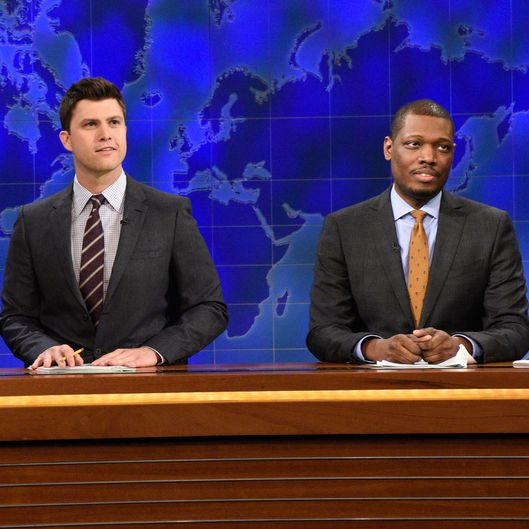 "SATURDAY NIGHT LIVE -- ""Dakota Johnson"" Episode 1676 -- Pictured: (l-r) Sasheer Zamata, Jay Pharoah as Kanye West, Colin Jost and Michael Che during Weekend Update on February 28, 2015 -- (Photo by: Dana Edelson/NBC/NBCU Photo Bank via Getty Images)"
