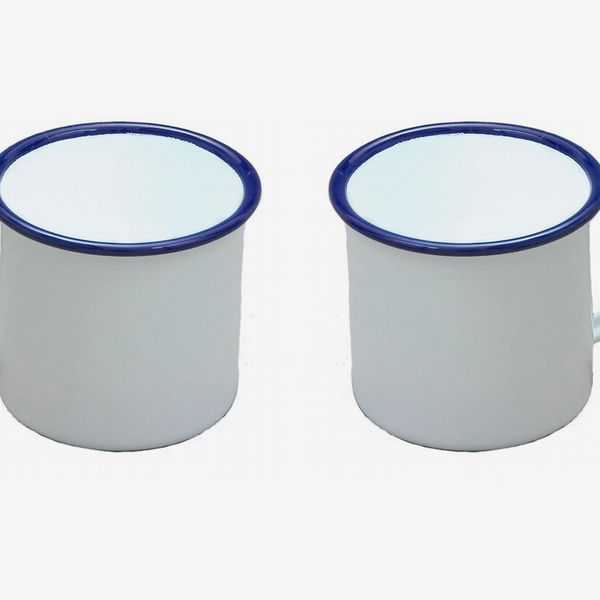 Set of 2 White Enamel Mugs