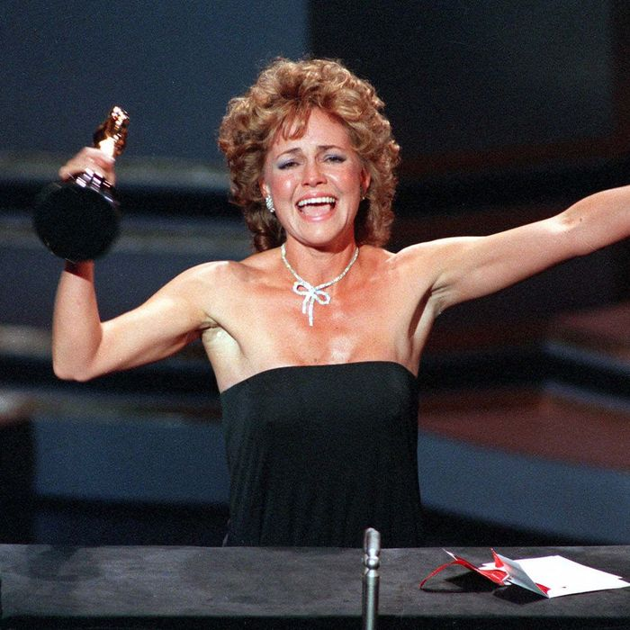 Actress Sally Field accepts her Academy Award for best actress in the film