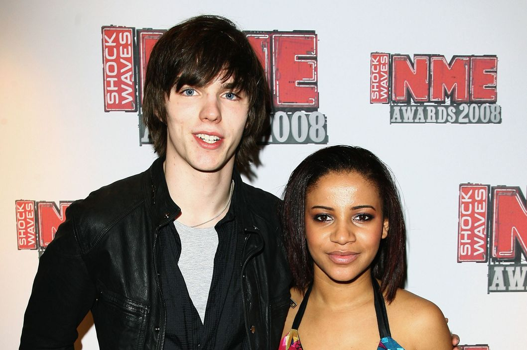 Skins actors Nicholas Hoult and Larissa Wilson pose at the Shockwaves NME Awards 2008 Awards at the O2 Arena on February 28, 2008 in London, England.