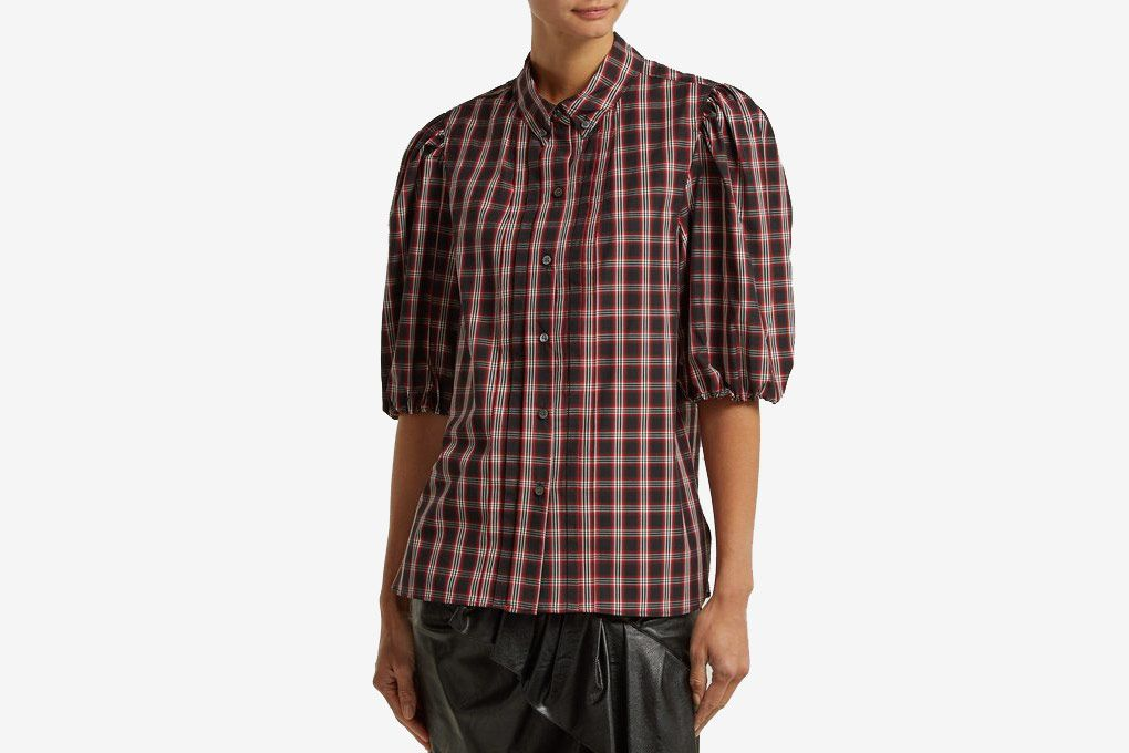 Isabel Marant Étoile Orem Plaid Puff-sleeve Shirt
