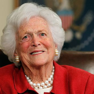 Barbara Bush talks with Republican presidential candidate, former Massachusetts Gov. Mitt Romney at Former President George H. W. Bush's office on March 29, 2012 in Houston, Texas. Mitt Romney received an endorsement from Former President George H.W. Bush and Barbara Bush during the meeting.