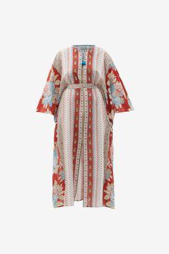 D'Ascoli Josefa Striped and Floral-Print Cotton Kaftan