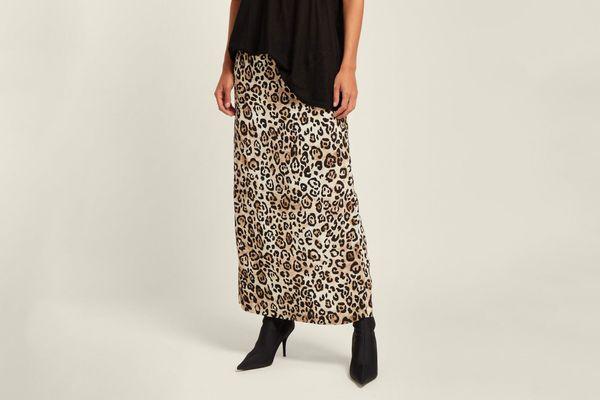 RAEYLeopard Print Silk Skirt