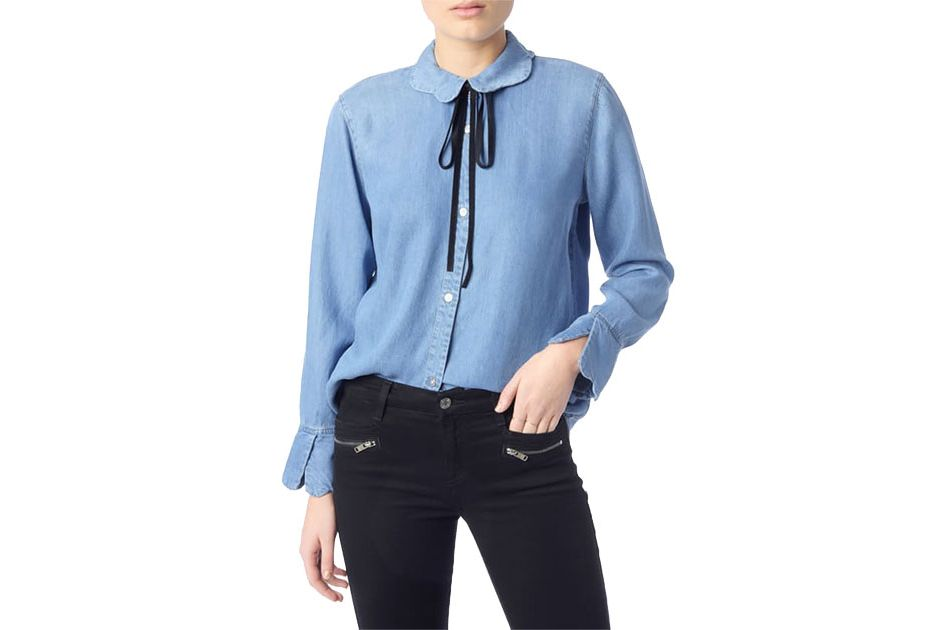 7 For All Mankind Scalloped Denim Shirt With Bow Tie