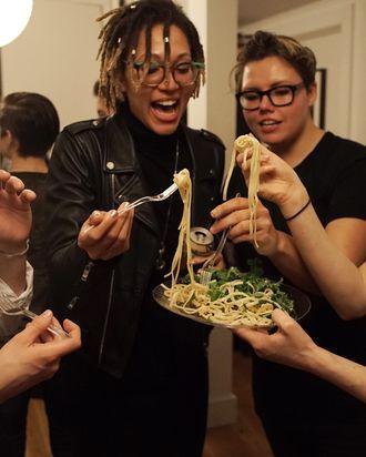 Lesbians eat dinner then eat each