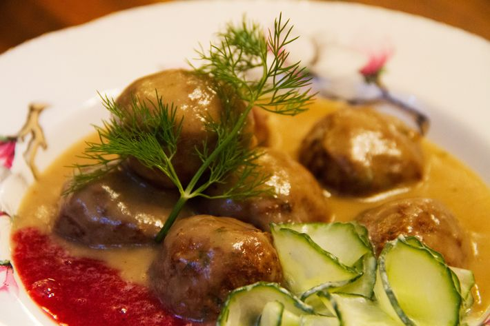 When Redding couldn't find fresh lingonberries for the traditional condiment, she opted to serve her Swedish meatballs with grape-black-pepper preserves.