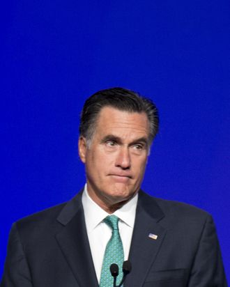 US Repulican presidential candidate Mitt Romney addresses the Newspaper Association of America in Washington, DC, April 4, 2012.