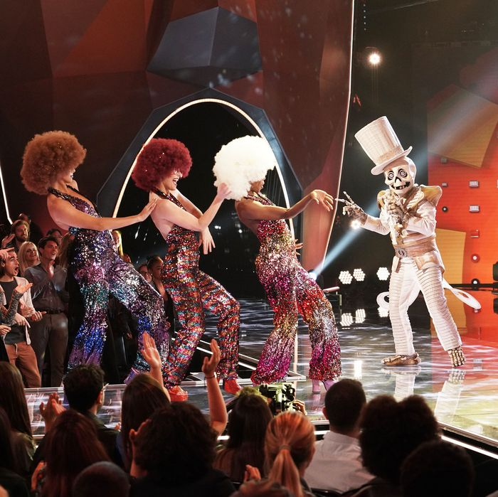 Skeleton performs in The Masked Singer.