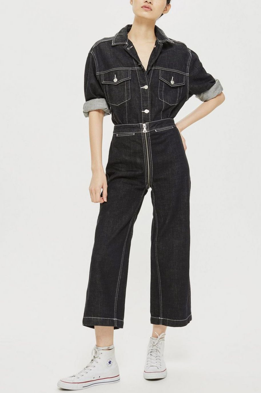 Topshop Zip Through Cropped Wide Leg Jeans