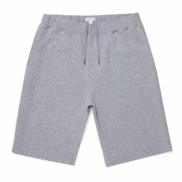 Sunspel Men's Cotton Loopback Shorts in Grey Melange
