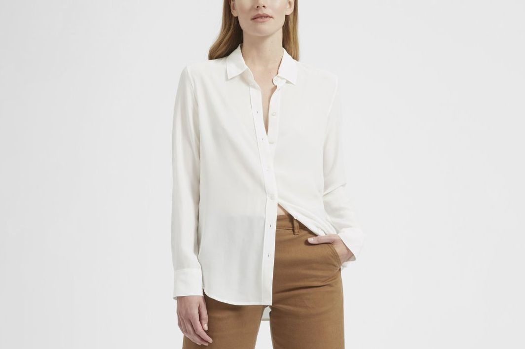 Everlane Relaxed Silk Shirt in White