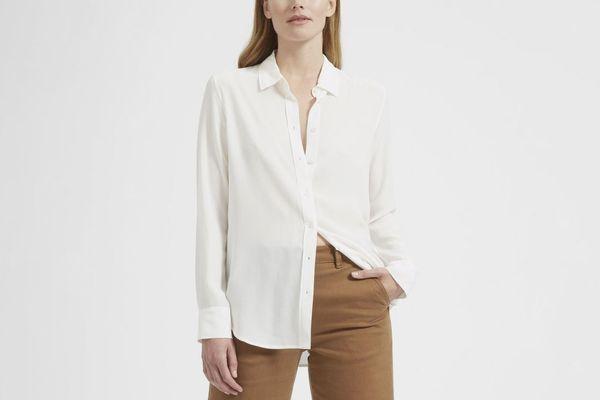 Everlane Relaxed Silk Shirt in White