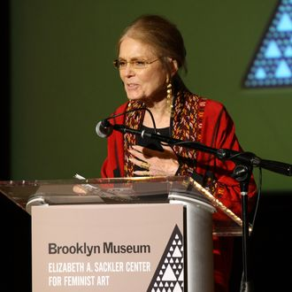 Author and activist Gloria Steinem speaks on stage during the Brooklyn Museum's Sackler Center First Awards at the Brooklyn Museum on April 18, 2012 in the Brooklyn borough of New York City.