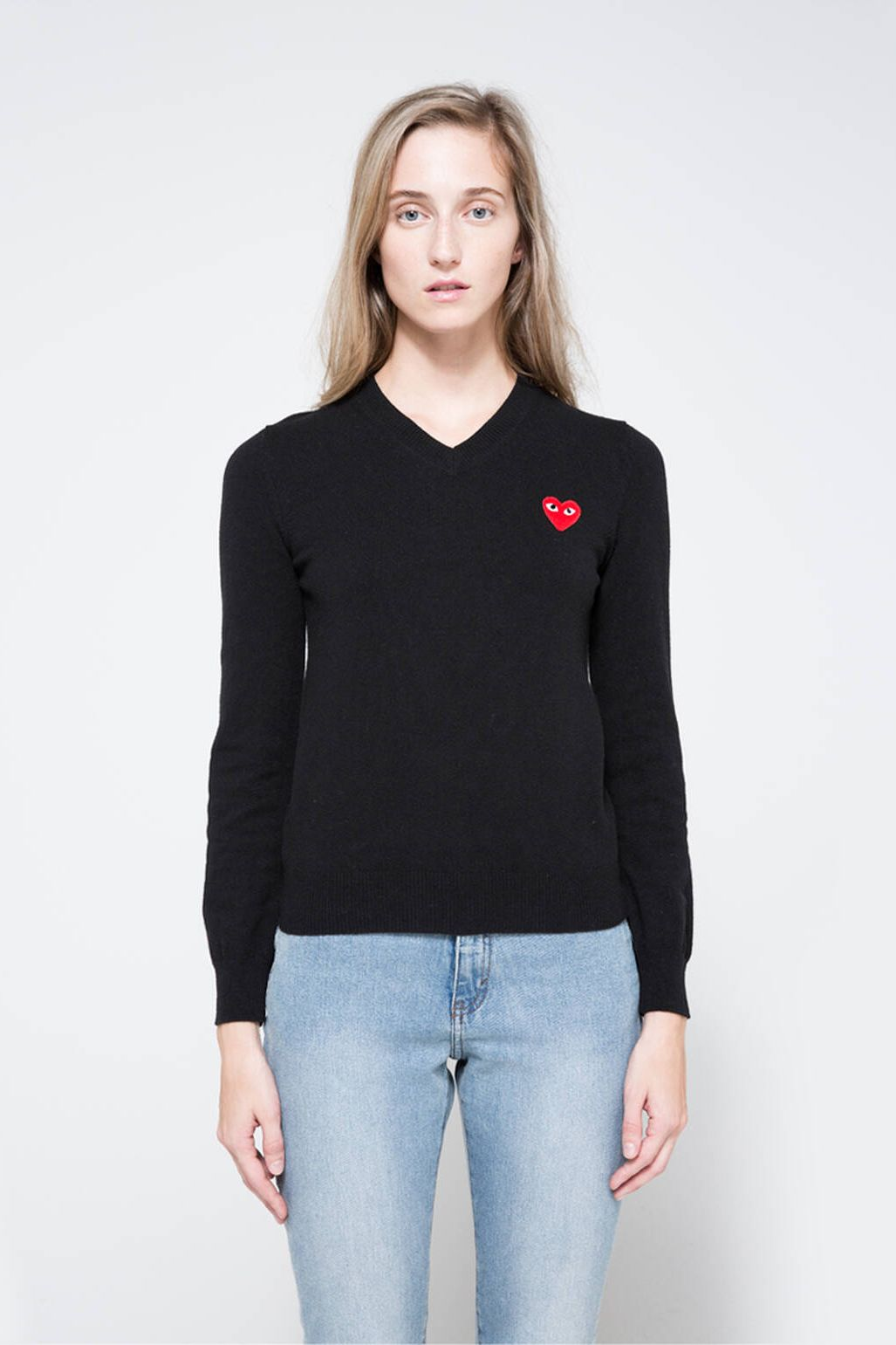 Comme des Garçons Play Red Heart Play V-Neck Pullover in Black