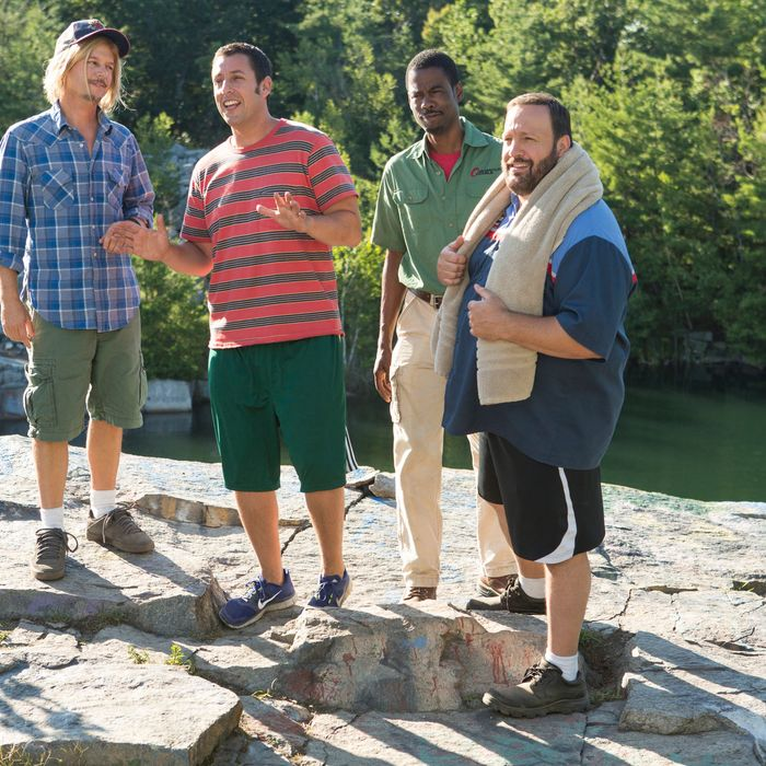 Marcus Higgins (David Spade), Lenny Feder (Adam Sandler), Kurt McKenzi (Chris Rock) and Eric Lamonsoff (Kevin James) at the quarry in Columbia Pictures' GROWN UPS 2.