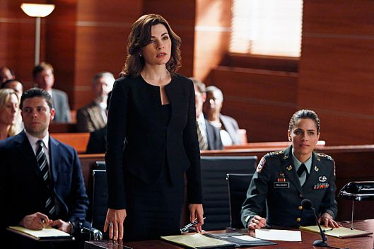 """The Art of War""-- Alicia (Julianna Margulies, left) represents Laura Hellinger (Amanda Peet, right), an Army captain who accuses a civilian contractor of attempting to rape her in Afghanistan, on THE GOOD WIFE, Sunday Nov. 4."