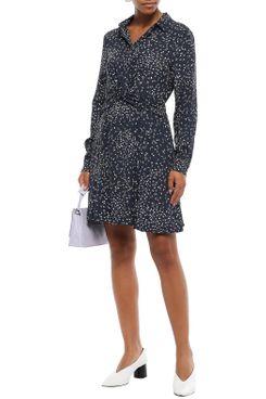 Ganni Twist-Front Floral Print Mini Dress