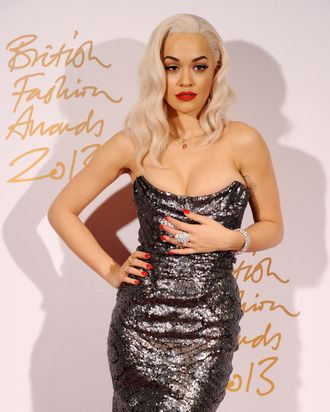 LONDON, ENGLAND - DECEMBER 02: Rita Ora poses in the winners room at the British Fashion Awards 2013 at London Coliseum on December 2, 2013 in London, England. (Photo by Stuart C. Wilson/Getty Images)