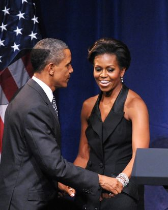 Michelle Obama, presumably wearing very respectable foundation garments.