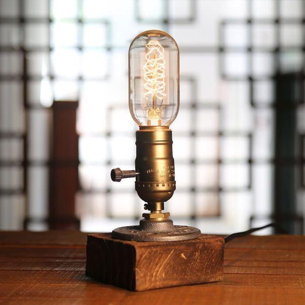 YUENSLIGHTING E27 Vintage Wood Blocks Table Lamp