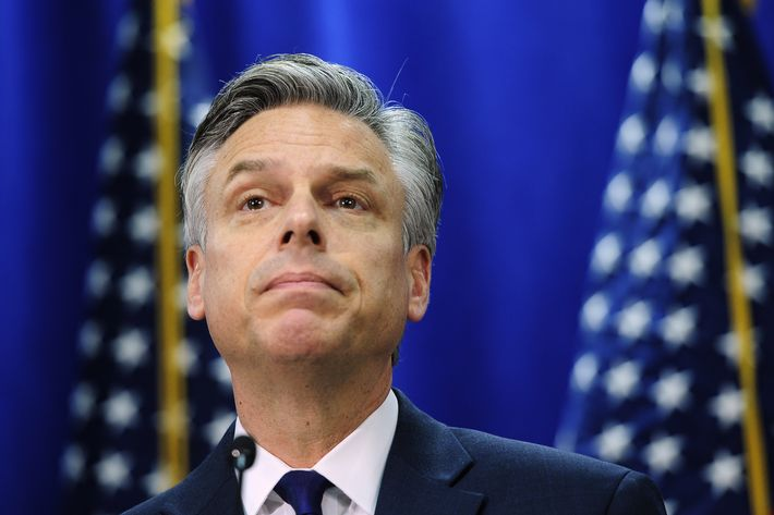 Republican presidential hopeful Jon Huntsman addresses a press conference to announce he is bowing out from the presidential race in Myrtle Beach, South Carolina, January 16, 2012.