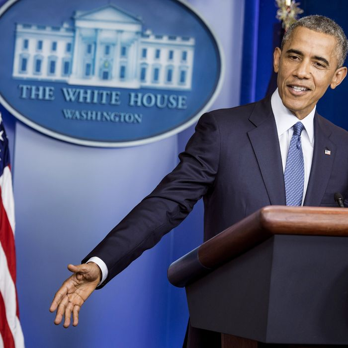 US President Barack Obama pauses while making a statement in the briefing room of the White House August 1, 2014 in Washington, DC. President Obama declared Friday that the US economy was getting stronger and had generated