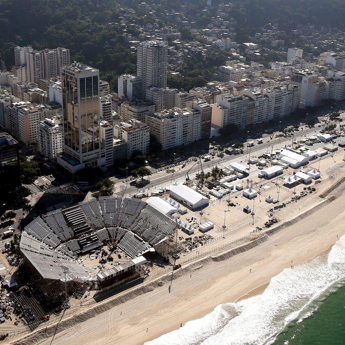 Beach Volleyball Arena on Copacabana Beach in Rio de Janeiro, Brazil.