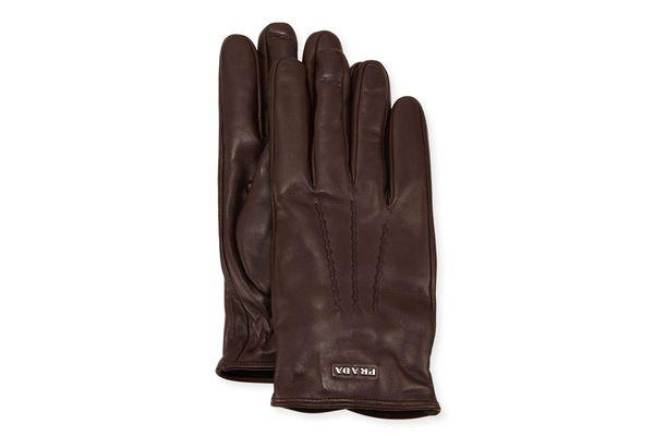 Prada Napa Leather Gloves With Logo