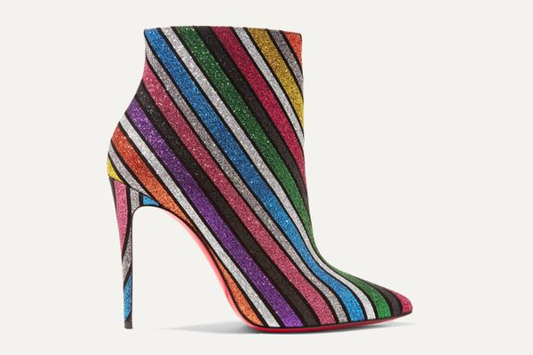 Christian Louboutin So Kate 100 Striped Glitter Leather Ankle Boots