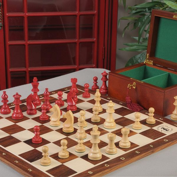 House of Staunton The Championship Series Chess Set, Box & Rosewood Tournament Board Combination