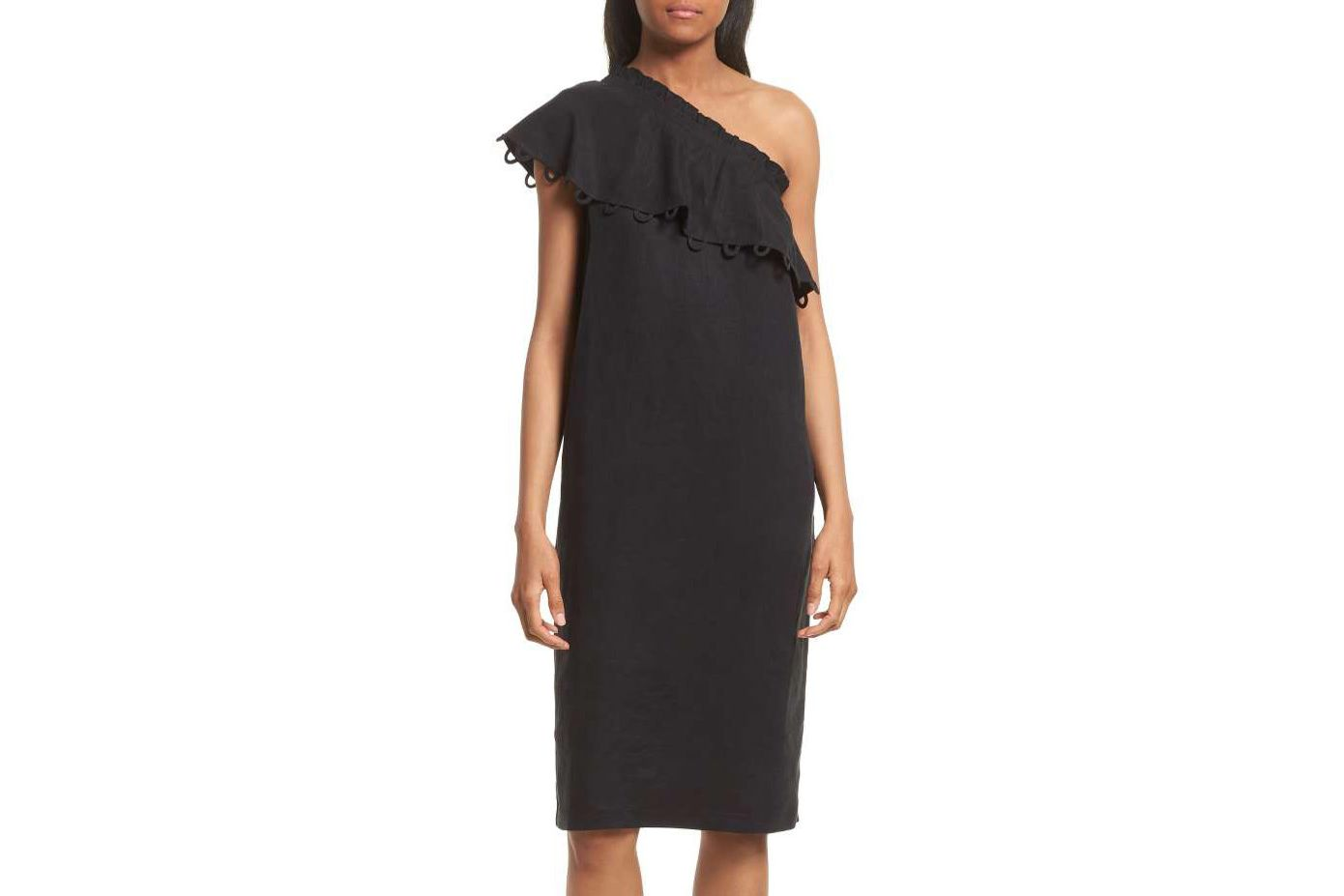 Apiece Apart Reina One-Shoulder Ruffle Dress