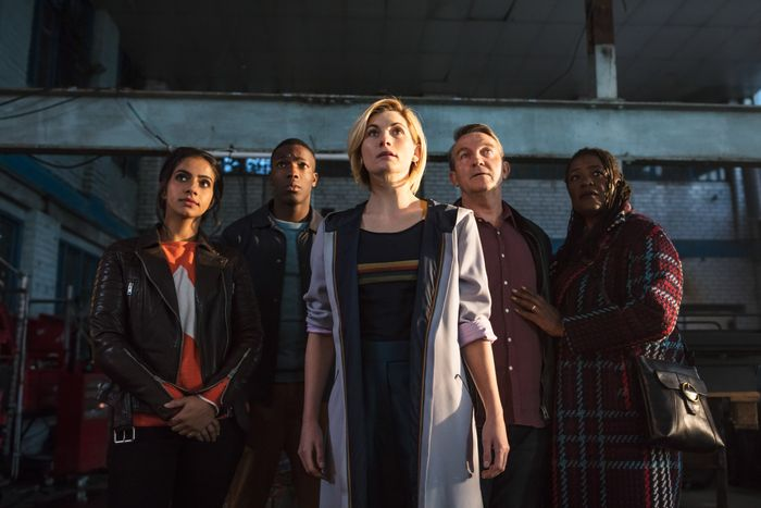 Mandip Gill, Tosin Cole, Jodie Whittaker, Bradley Walsh, and Sharon D. Clarke in Doctor Who.
