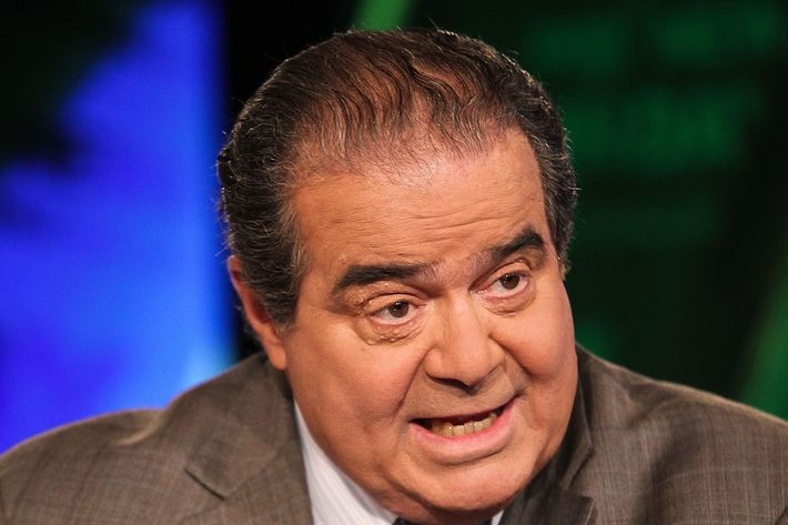 """WASHINGTON, DC - JULY 27:  U.S. Supreme Court Justice Antonin Scalia takes part in an interview with Chris Wallace on  """"FOX News Sunday"""" at the FOX News D.C. Bureau on July 27, 2012 in Washington, DC.  (Photo by Paul Morigi/Getty Images)"""