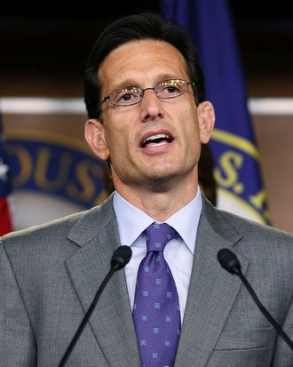 WASHINGTON, DC - JULY 19: Majority Leader Eric Cantor (R-VA) speaks during a news conference at the U.S. Capitol, on July 19, 2011 in Washington, DC. House Republicans introduced a cut, cap and balance, plan would raise the debt ceiling $2.4 trillion, but only after significant spending cuts, and a constitutional amendment requiring a balanced federal budget. (Photo by Mark Wilson/Getty Images)