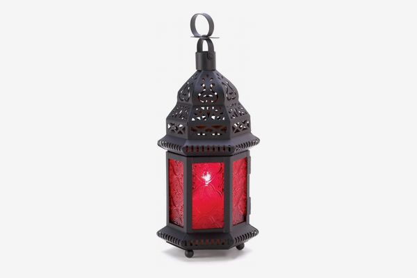 Metal Moroccan Lantern with Red Glass
