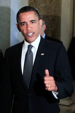 WASHINGTON - MAY 25:  U.S. President Barack Obama gives a thumbs up after a meeting at the Capitol May 25, 2010 in Washington, DC. Obama was on the Hill for a meeting with Senate Republicans.  (Photo by Alex Wong/Getty Images) *** Local Caption *** Barack Obama