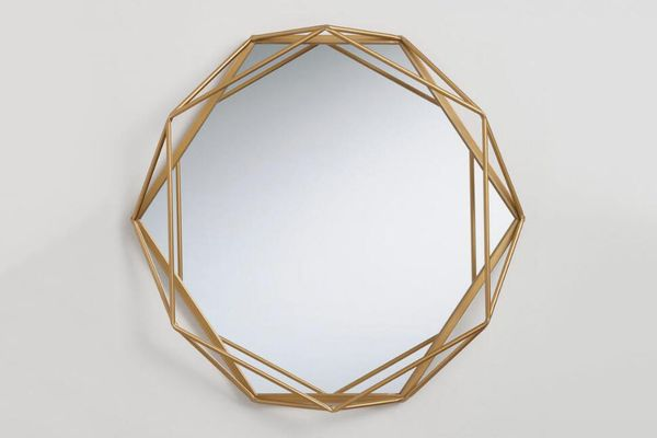 World Market Round Gold Geometric Wall Mirror
