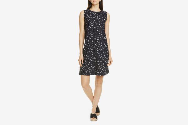 Eileen Fisher Dot Print Organic Cotton Shift Dress