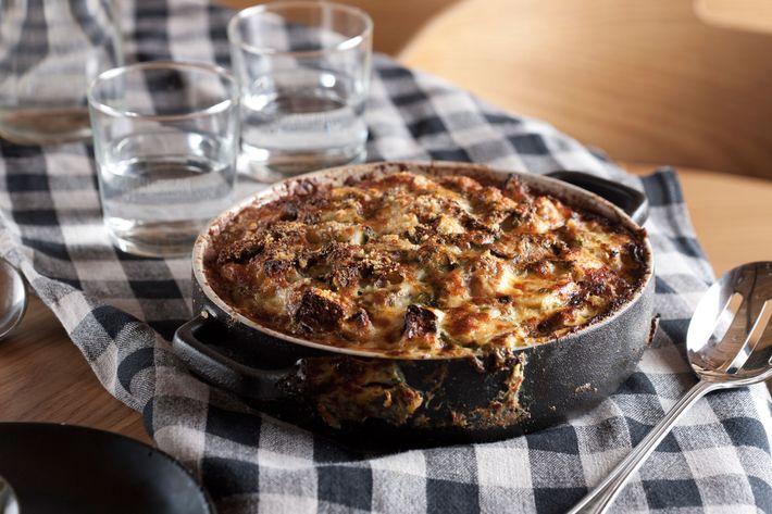 Salt-cod casserole, sourdough, roasted winter vegetables.